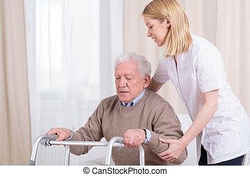 Horizontal view of rehabilitation in nursing home