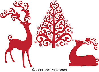 reindeer with christmas tree, vecto