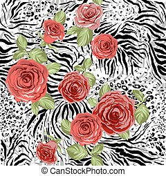 Repeating animal pattern and flowers