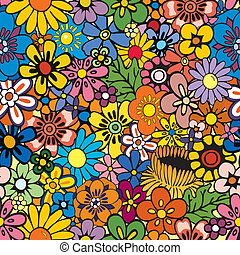Vivid, colorful, repeating floral background