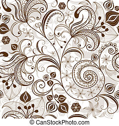 Seamless white and brown floral pattern with vintage flowers (vector)