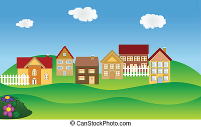 Beautiful residential neighborhood in spring time