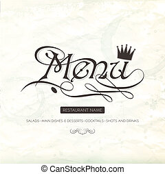 Restaurant menu design on crumpled paper. Vector illustration