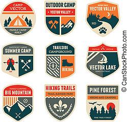 Set of vintage outdoor camp badges and emblems