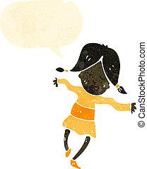 retro cartoon happy girl dancing