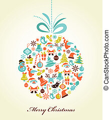 Christmas background with set of icons on the xmas ball, vector