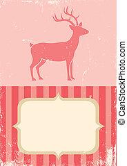 Retro illustration of Christmas dee