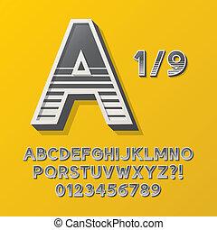 Retro Stripe Style 1 Alphabet