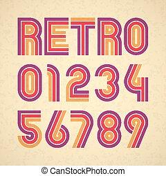Retro style alphabet numbers