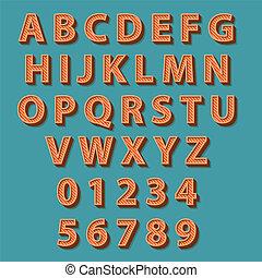 Retro style alphabet. Vector illustration.
