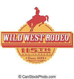 Retro or vintage western rodeo rider or cowboy on a bucking bronco horse sign vector, color separated clip art perfect for a tin sign or T-shirt