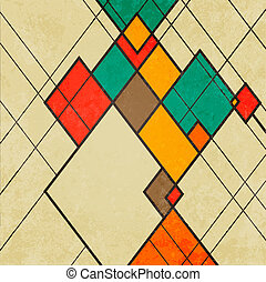 Rhombus retro abstract background vector ornament