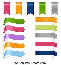 Ribbons Set, Isolated On White Background, Vector Illustration