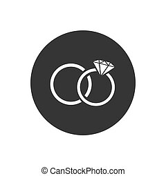 Rings icon on grey, vector illustration flat style