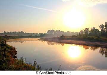 river landscape with sunrise