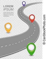 Road way navigation infographic. Highway Template with a curvy car freeway, Roadmap with map pins. vector illustration.