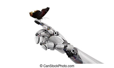 Robot Hand and Butterfly on a White Background