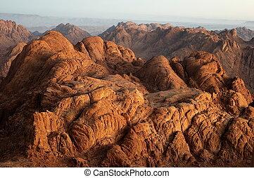 Panorama rocks of Mount Sinai in early morning