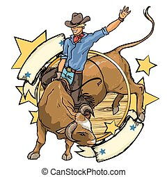 Rodeo Cowboy riding a bull, label design with space for text