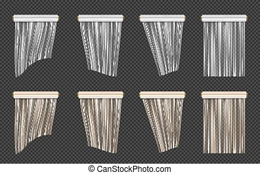 Roll of wrapping plastic stretch film set. Vector illustration isolated on transparent background.