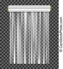 Roll of wrapping plastic stretch film. Vector illustration isolated on transparent background.
