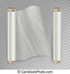 Roll Of Wrapping Stretch Film Vector. Opened And Closed Polymer Packaging. Cellophane, Plastic Wrap. Isolated On Transparent Background Illustration