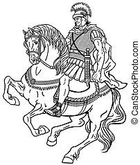 roman warrior on the horse black white