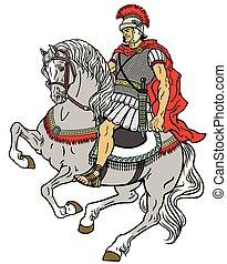 roman warrior on the horse