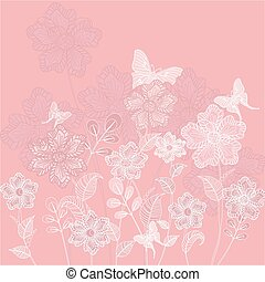 Romantic floral decorative background with butterflies