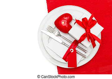 Romantic Valentines Day table place setting decoration