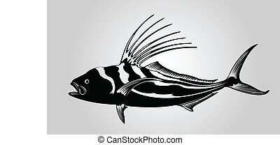 A rooster fish in silhouette.