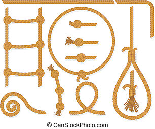 Vector twisted rope collection, gallows, ladder, cable, lasso, knots, loop, spiral etc..