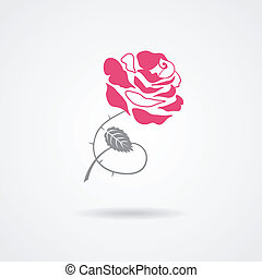 Rose symbol isolated on white background