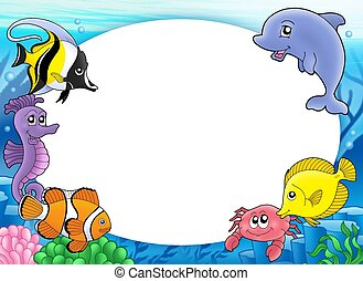 Round frame with tropical fishes - color illustration.