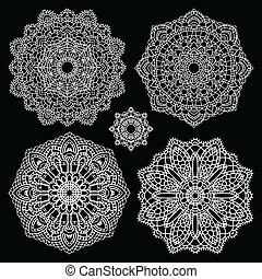 Round lace pattern set. Mandala.