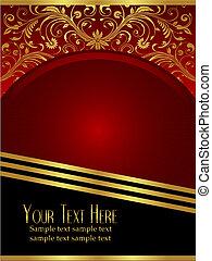 Royal Burgundy Background with Ornate Gold Leaf