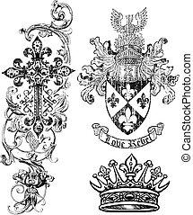 Royalty Cross Shield Crown Element