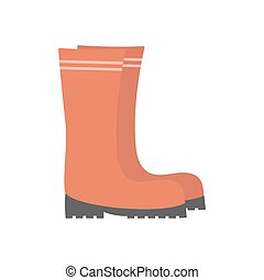 rubber boots isolated on white, flat design