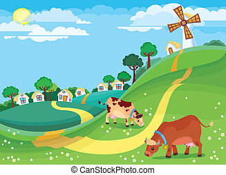 The illustration of country landscape with the village houses and cows grazing in the meadow