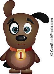 Sad black-eyed puppy, vector illustration
