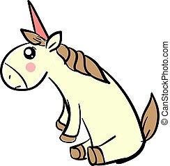 Sad unicorn, illustration, vector on white background.