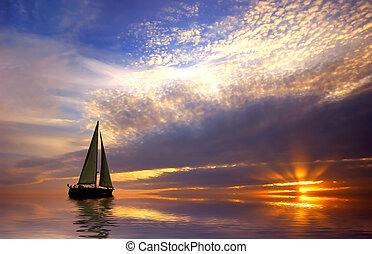 Sailing with a beautiful sunset
