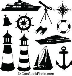 Sailing equipment silhouettes - vector