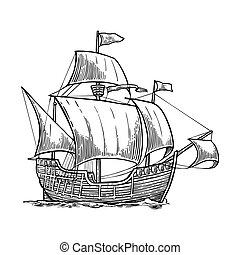 Sailing ship floating on the sea waves. Caravel Santa Maria with Columbus. Hand drawn design element. Vintage vector engraving illustration for poster, label, postmark. Isolated on white background