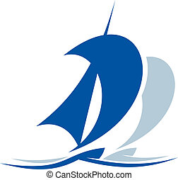 Blue icon depicting the silhouette of a yacht or sailing ship upon the waves with a billowing sail, for yachting sports design
