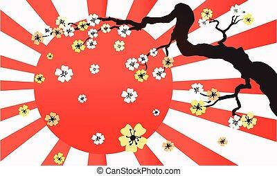 Sakura blossom in sunlight retro wide horizontal Vector background