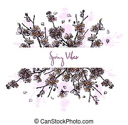 Sakura in bloom, horizontal banner, full color