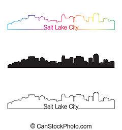 Salt Lake City skyline linear style with rainbow
