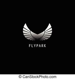 Abstract black and white wings silhouette with text