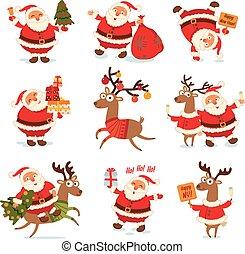 Santa Claus and Christmas reindeer